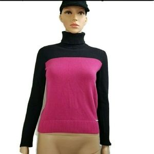 Michael Kors Sweater Turtleneck Color Block Ribbed